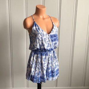 NWT One Clothing LA Blue White V Neck Romper S